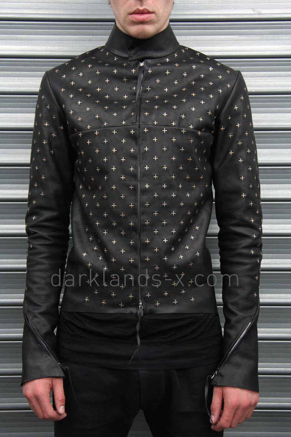 m.a+ Zipped Sleeves Biker Jacket with Silver Crosses