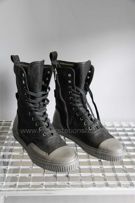 Both Combat Boot with Dark Grey Rubber Coating, Black