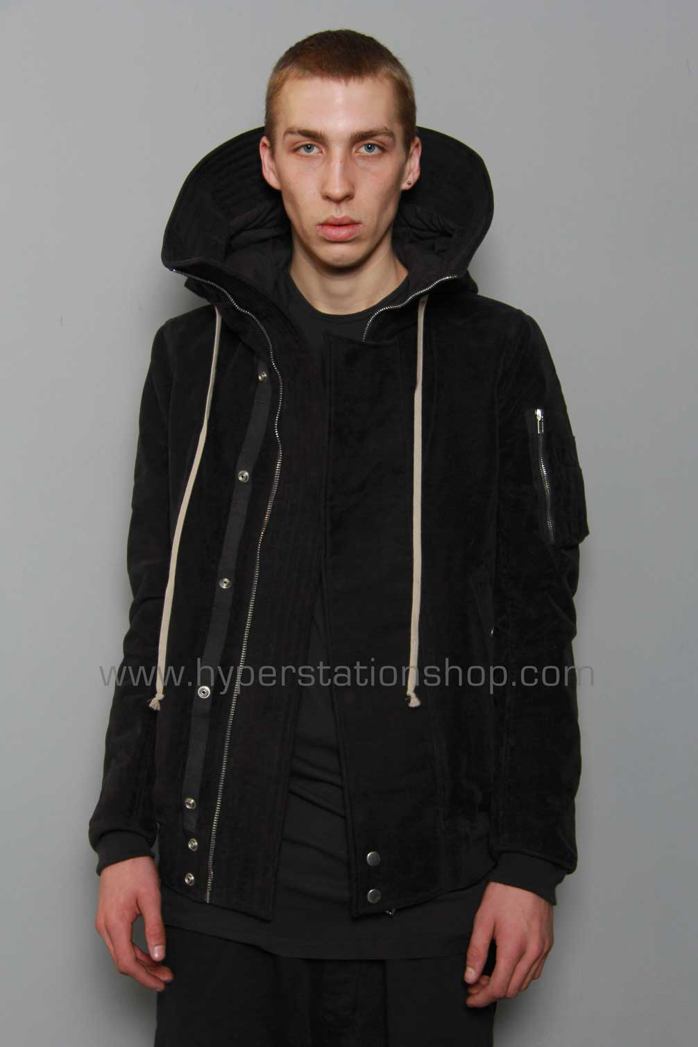 DRKSHDW Hooded Bomber Jacket, Black