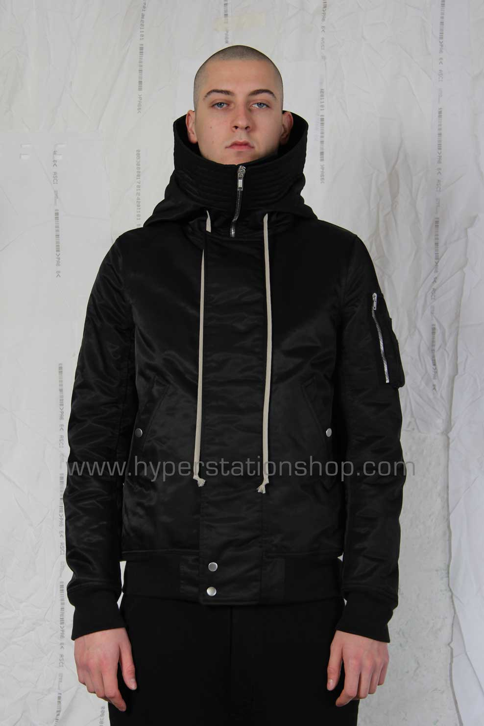 DRKSHDW Short Hooded Waterproof Bomber, Black