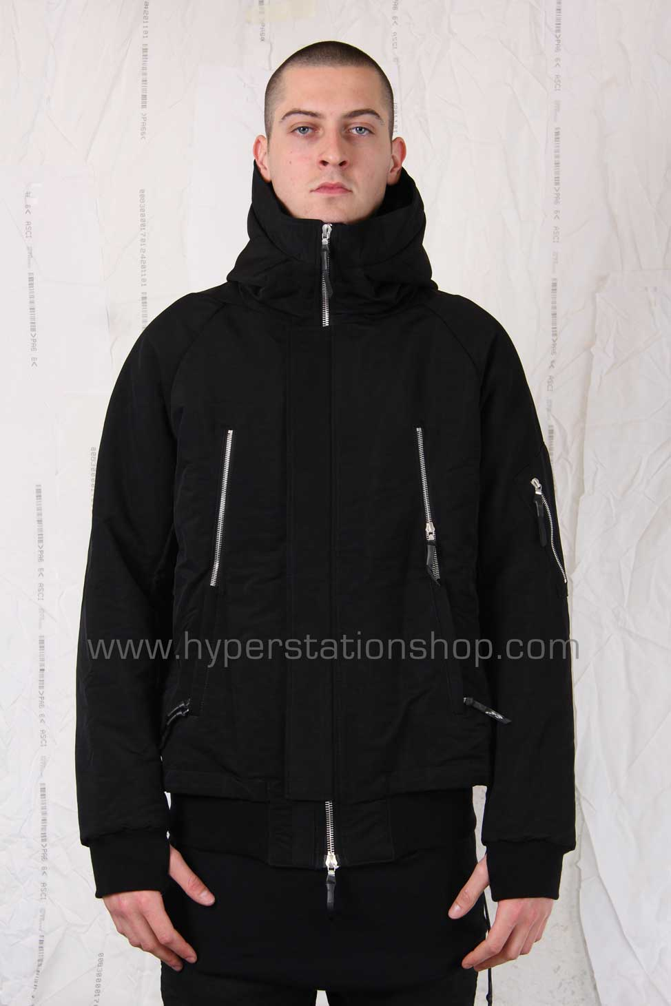 11byBBS Short Hooded Bomber, Black
