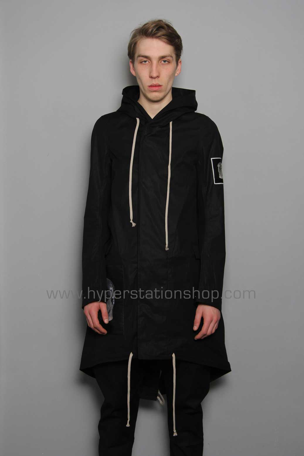 DRKSHDW Patched Fishtail Parka, Black