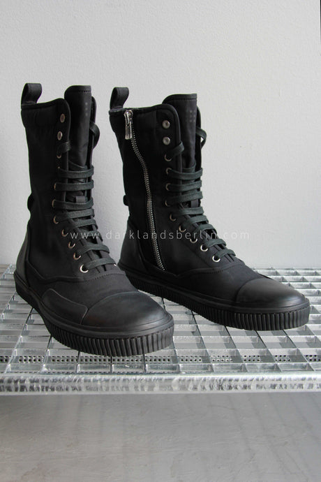 Both Lace Up Army Boot with Zip, Black