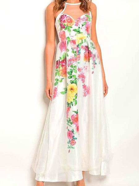 Pink and Green Floral Maxi Gown