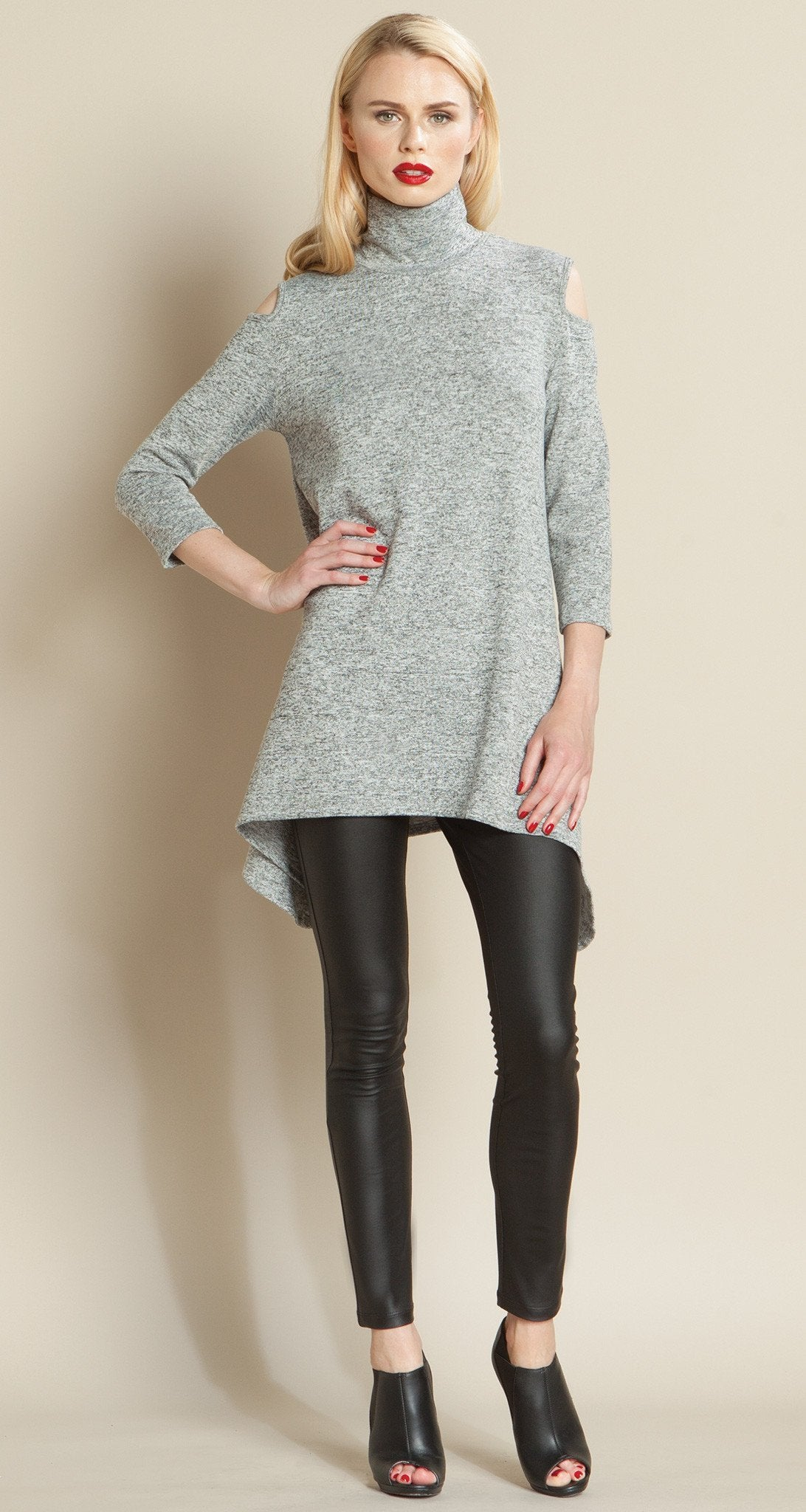 Mock Neck Open Shoulder Sweater Tunic