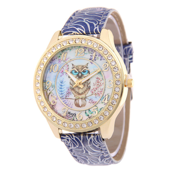 New Fashion Leather Owl Watch for Women