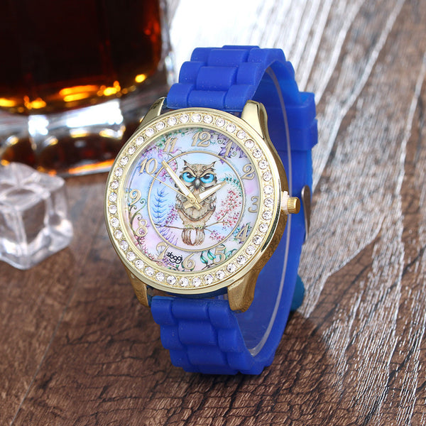 Cartoon Owl Wrist Watch with White Silicone Straps