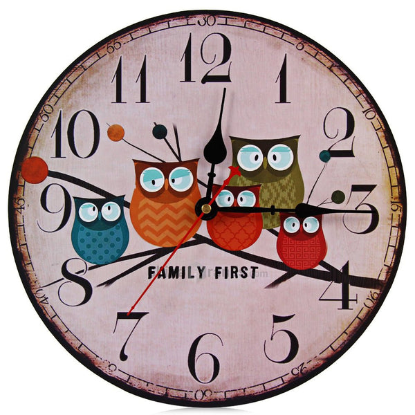Modern Owl Design Wooden Wall Clock