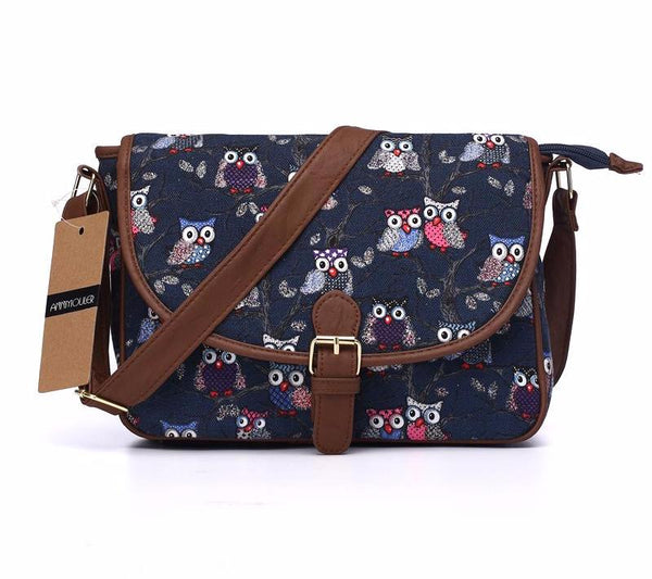Owl Printing Adjustable Strap Crossbody Bag