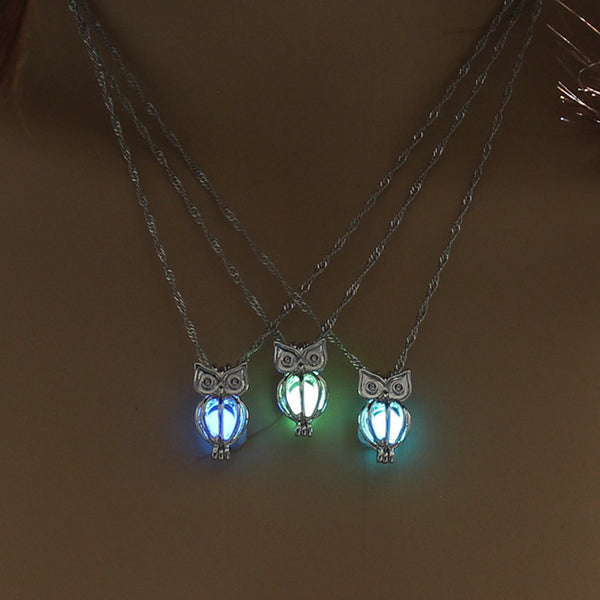 Glowing in the dark Owl Pendant Necklace