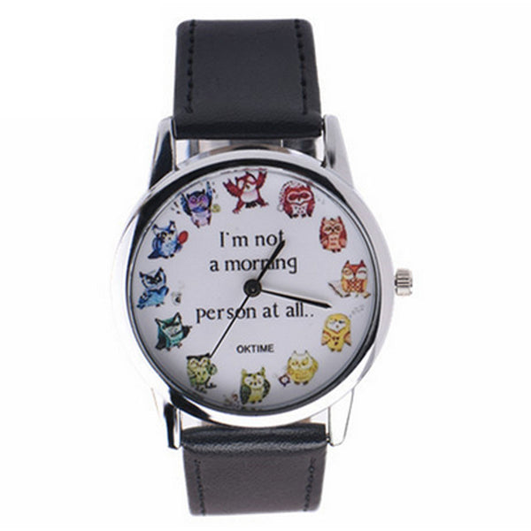 Not A Morning Person At All 12 Owl Brown Wrist Watch