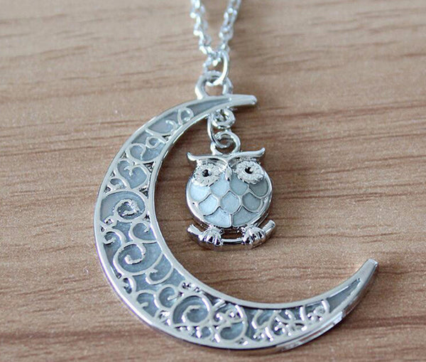 Moon Owl Glow In The Dark Necklace