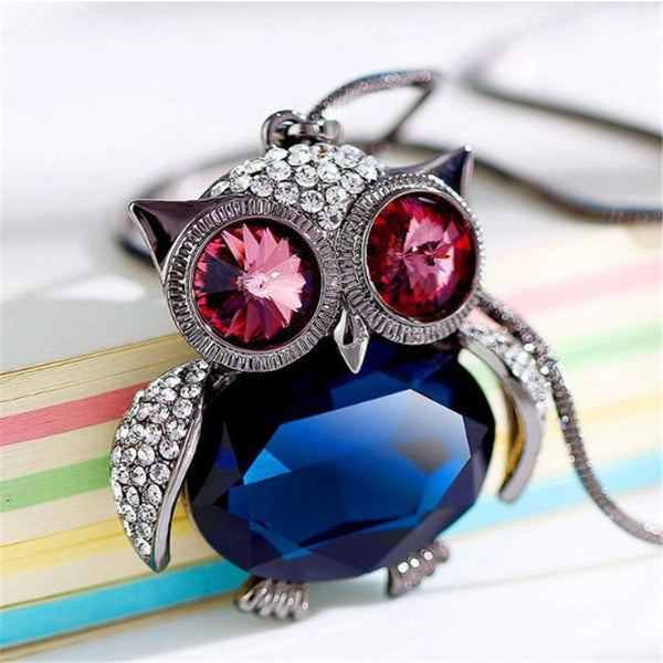 Charms Owl Crystal Pendant Necklace