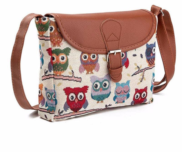 Vintage Owl Printed Flap Bag
