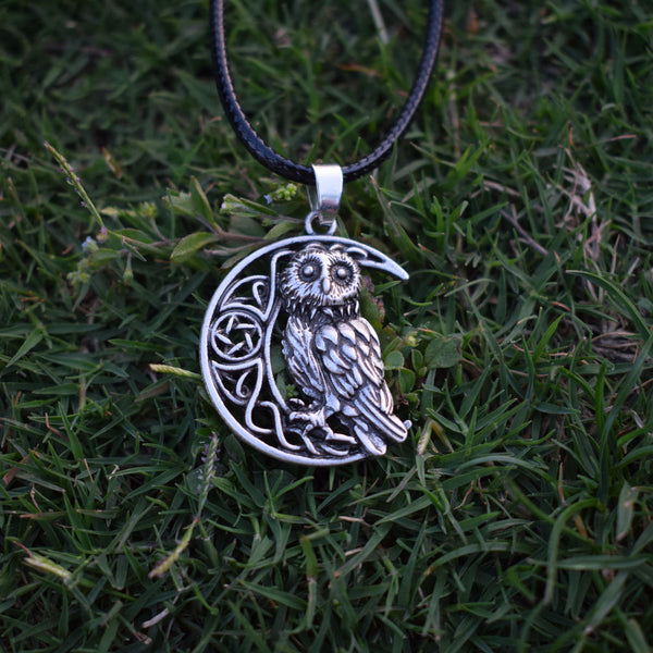Owl Goddess Crescent Moon Pendant Necklace