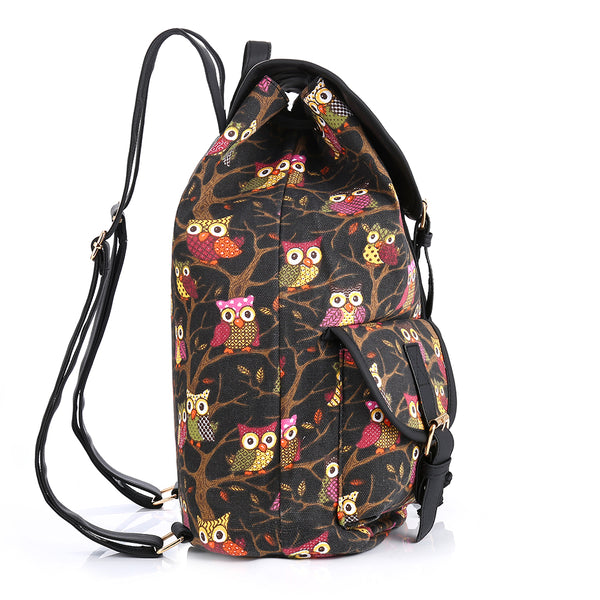 Vintage Owls On The Tree Printing Canvas Backpack