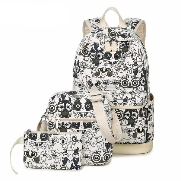 Cute Owl Printing Backpack Set