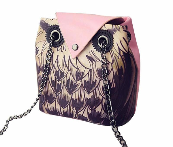 Special Owl Printed Tote PU Leather Bag