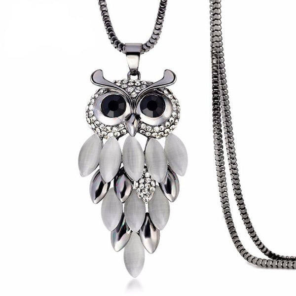 Opal Crystal Attached Owl Necklace
