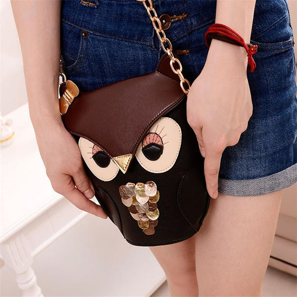 Owl Leather Shoulder Bag