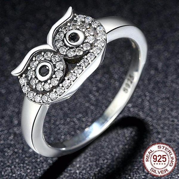 925 Sterling Silver Owl Ring with Clear CZ Crystal
