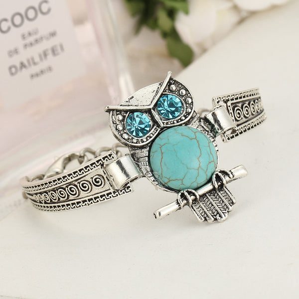 Blue Gemstone Owl 3D Pattern Bracelet