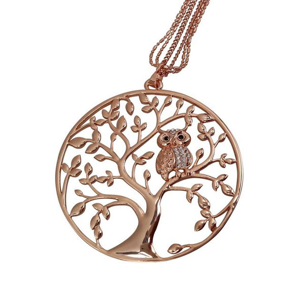 Owl Tree Branch Locket Necklace