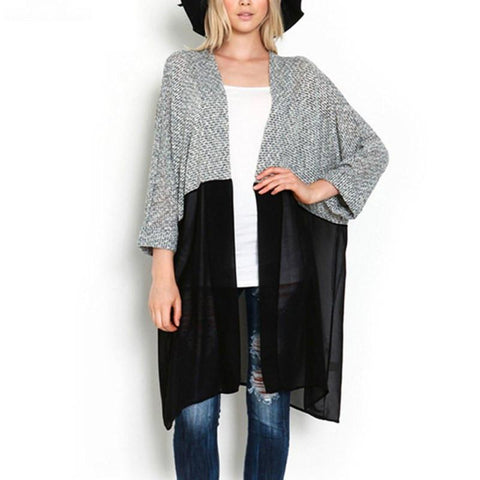 Long Cardigan, Plus Size Casual Women Knitted and sheer Sweater L-3X