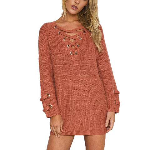 Knitted sexy V-NECK  Lace up long sleeve, plus size