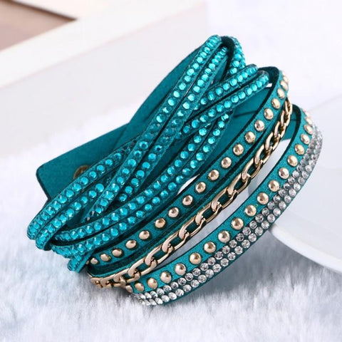 Leather Punk Style,  Multi layer Bracelet with studs and rhinestones