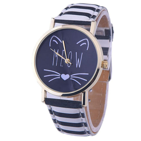 Hot Sale Cheap Cute Cat Pattern Women Girls Leather Band Analog Quartz Watch