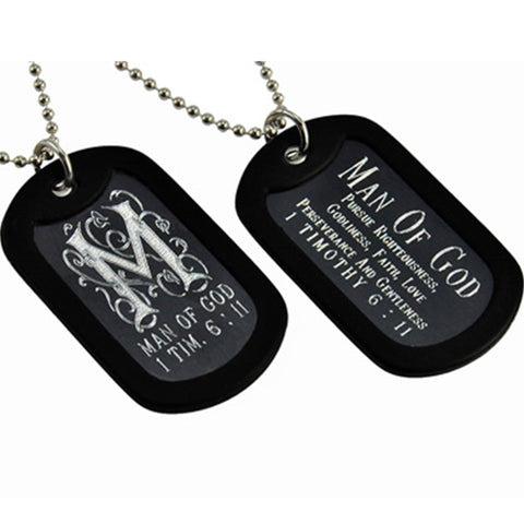 """Man of God"" Monogram Double Sided Engraved Dog Tag Necklace"