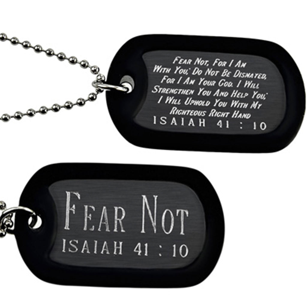 """Fear Not"" Power Point Double Sided Engraved Dog Tag Necklace"