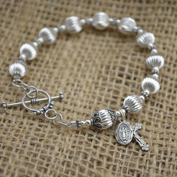 All Sterling Silver Rosary Bracelet