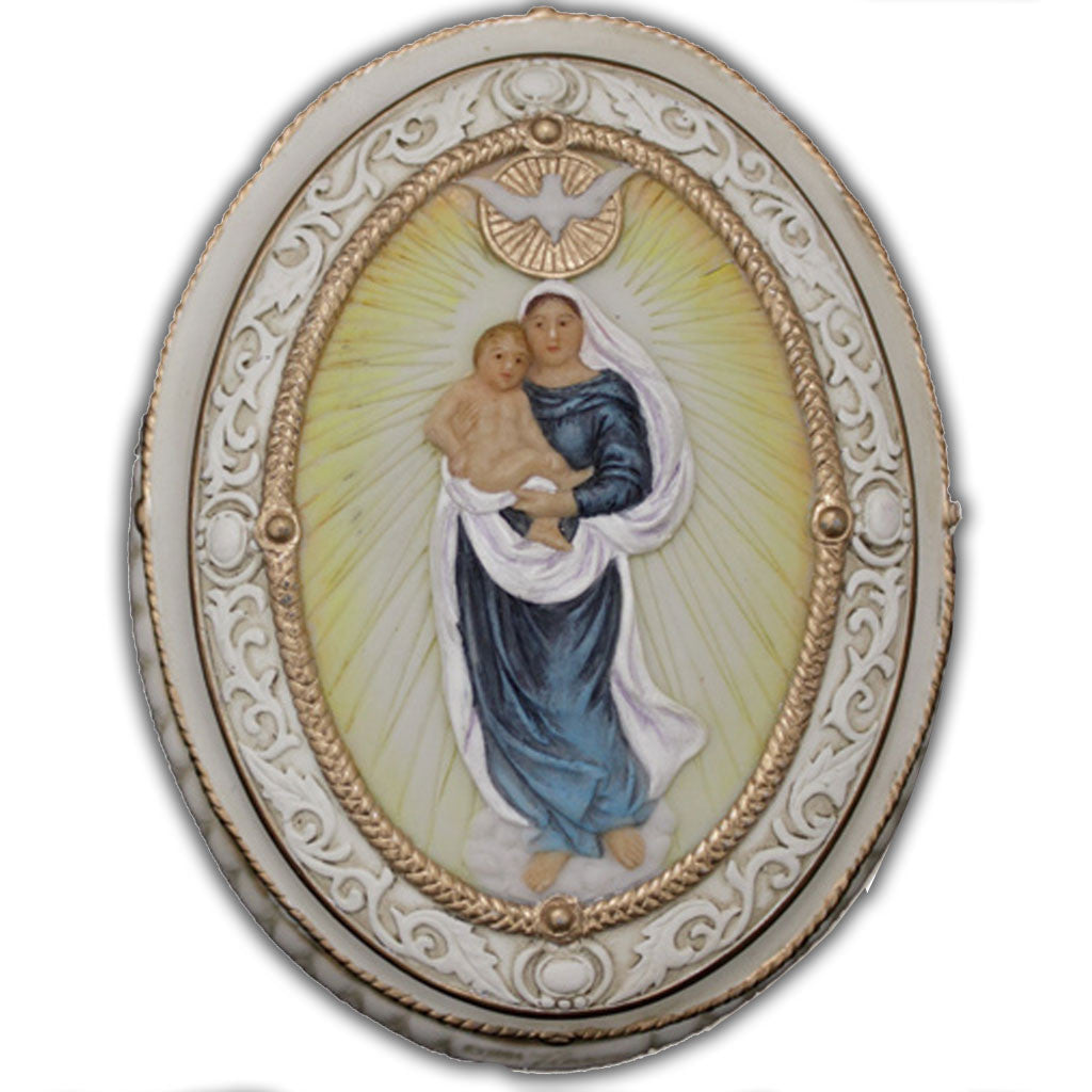 Veronese Madonna & Child Oval Rosary Box