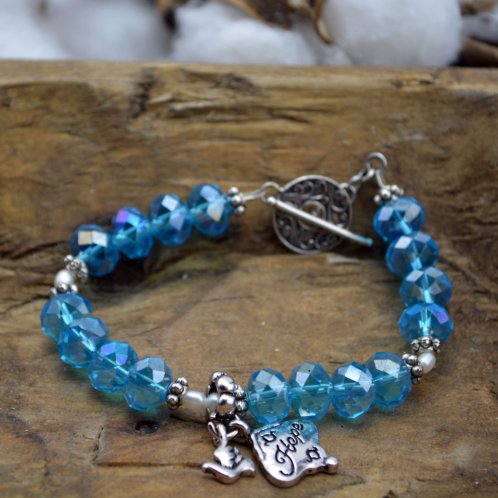 Aqua Blue Crystal Hope Bracelet