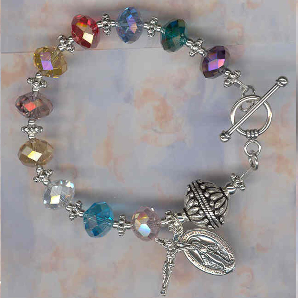 Limited Edition Multi Color Faceted Crystal Rosary Bracelet