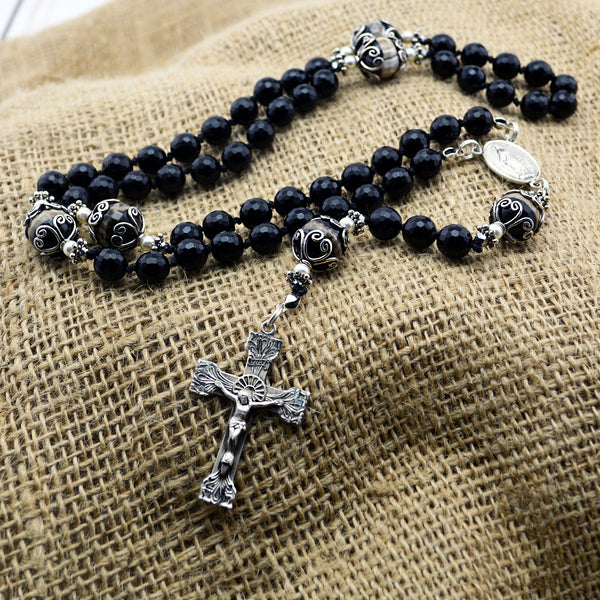 Faceted Black Onyx Rosary
