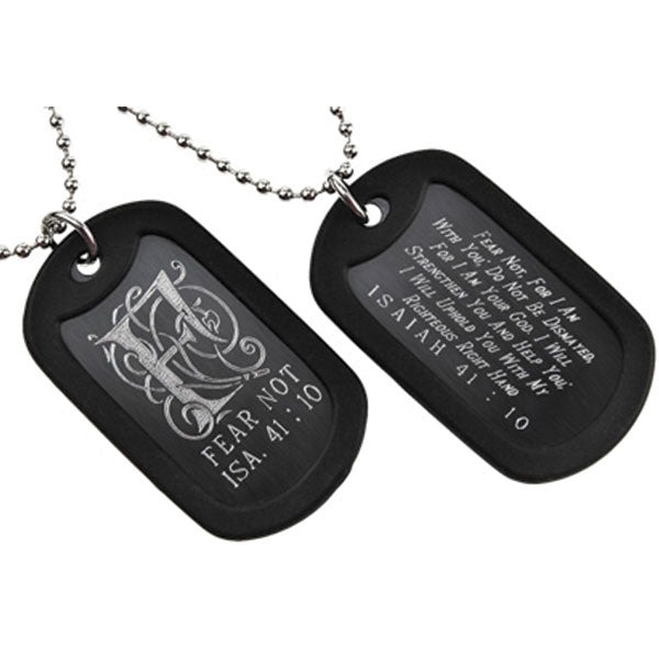 """Fear Not"" Monogram Double Sided Engraved Dog Tag Necklace"
