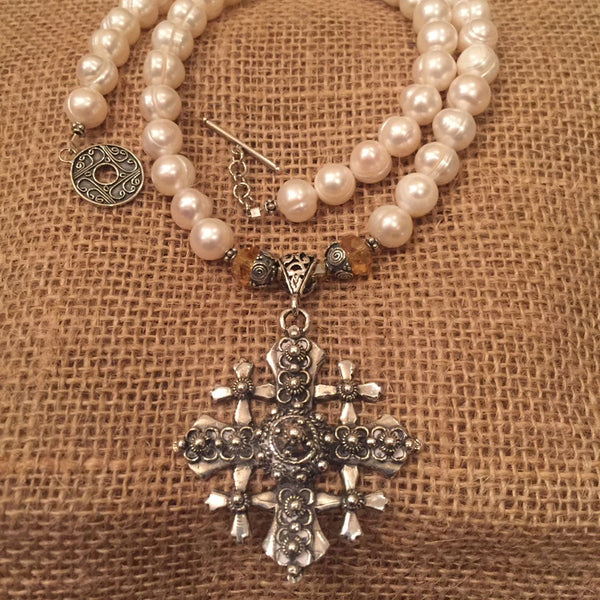 Elegant Freshwater Pearls and Jerusalem Cross Necklace - ONLY ONE AVAILABLE