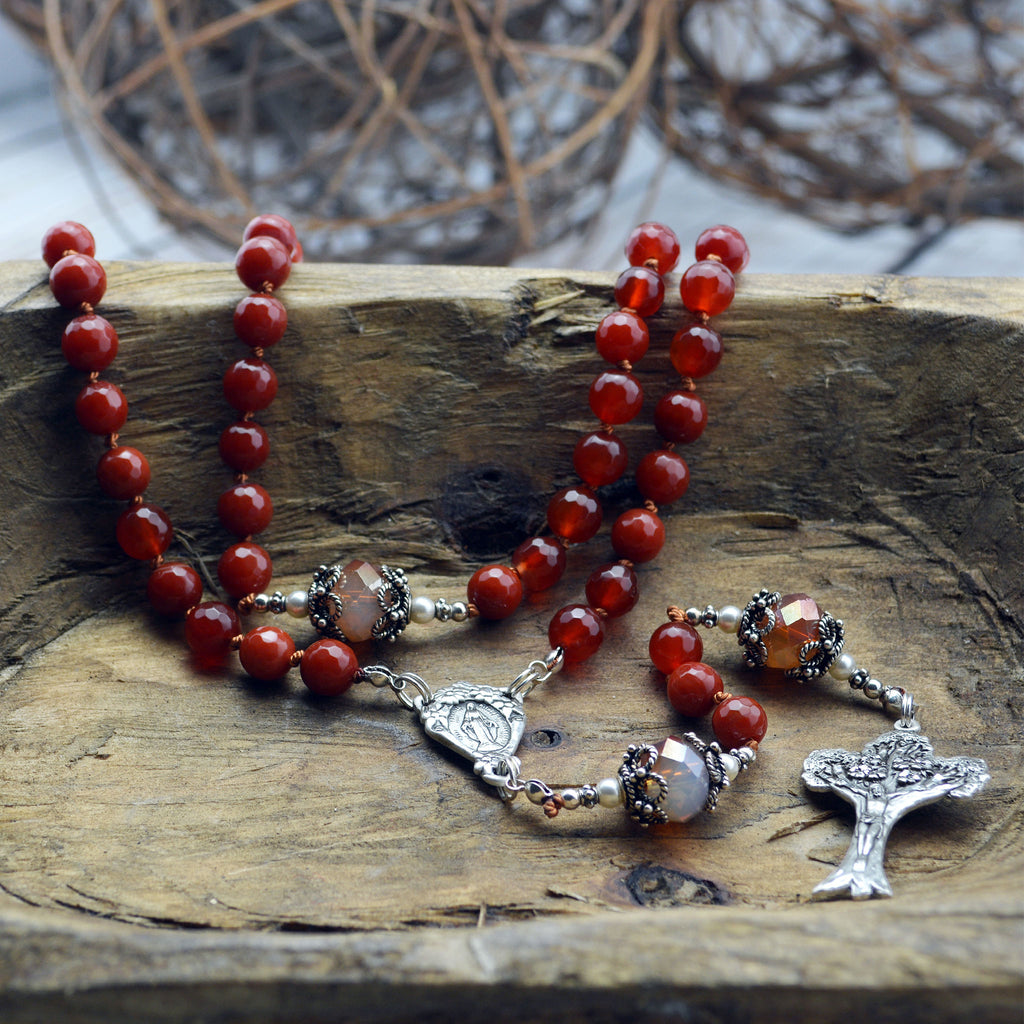 Faceted Red Agate Rosary