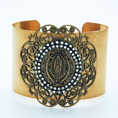 Vintage Style Our Lady of Guadalupe Cuff Bracelet