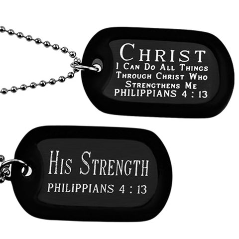 """Christ My Strength"" Power Point Double Sided Engraved Dog Tag Necklace"