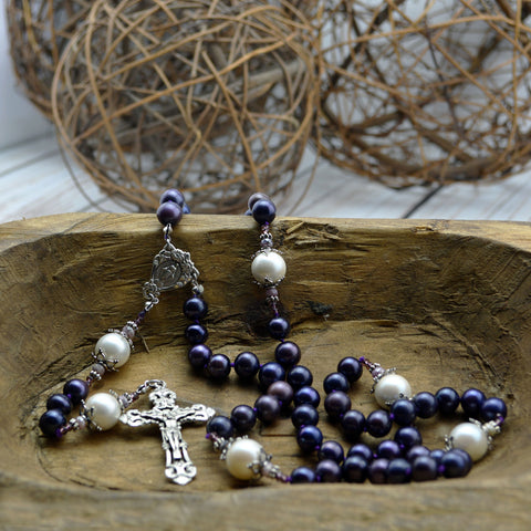 Purple South Sea Pearl Rosary