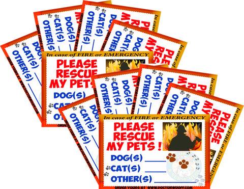 Set of 10 Emergency-Pet-Lifesaving Window Stickers !