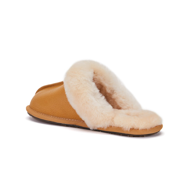 CLOSED MULE SLIPPERS BUFF LEATHER SADDLE