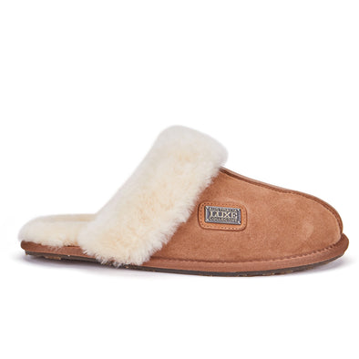 CLOSED MULE SLIPPERS CHESTNUT