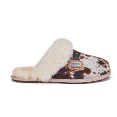 CLOSED MULE SLIPPERS PRINT COW SPLAT