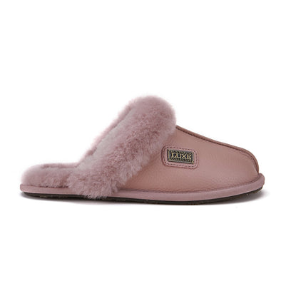 CLOSED MULE SLIPPERS BUFF LEATHER PINK