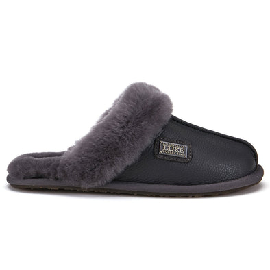 CLOSED MULE SLIPPERS BUFF LEATHER SMOKE